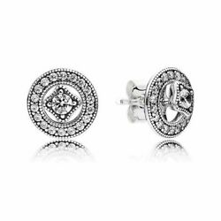 Authentic Pandora Vintage Circle Stud Earrings With Box Brand New Free Shiping