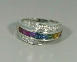 14K WHITE GOLD PRINCESS CUT MULTICOLOR AND ROUND DIAMONDS quot;CHAMELEONquot; RING BAND