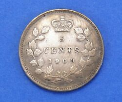 1900 Victoria Silver Canadian 5 Five Cents Coin - Oval 0and039s