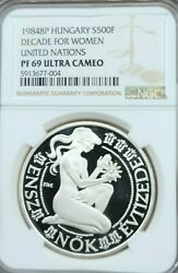 1984 Hungary Silver 500 Forint Decade For Women Ngc Pf 69 Ultra Cameo Top Pop