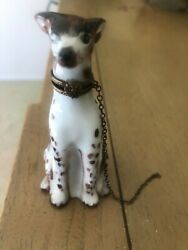 Rare Vintage Hand Painted Limoge Trinket Box- Greyhound With Gold Chain Leash