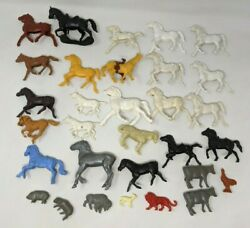 Vtg Lot Of 31 Mixed Marx Mpc Ideal Timmee Horses Farm Animals Plastic Toy Figure