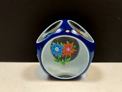 Limited Edition Saint Louis 1975 Double Overlay Bouquet Glass Paperweight.