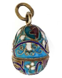 Russian Imperial Gilt Silver Cloisonne Egg Pendant, Marked An - Anders Nevalaine