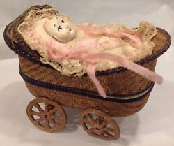 Antique Dresden Baby Carriage Candy Container Box