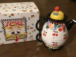 Mary Engelbreit 2000 Tea For One Very Cherry Ceramic Teapot + Lid + Cup