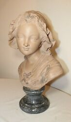 Antique Life-size French Miam Terracotta Lady Pottery Bust Sculpture Statue