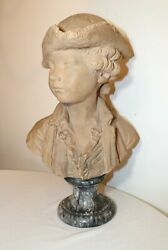 Antique Life-size French Miam Terracotta Boy Pottery Bust Sculpture Statue 1768