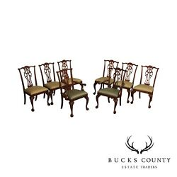 Ethan Allen Chippendale Style Set 8 Mahogany Ball And Claw Dining Chairs