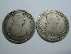 Charles Iv 1 Real Mexico 1800 + 1808 Lot 2 Coins Spanish Silver Colonial Era