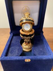 Rare House Of Faberge Imperial Collection Black Onyx And Gold Egg- Mint W/ Coa