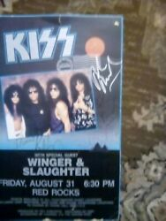 Rare Kiss Hot In The Shade Red Rocks Co.concert Poster Signed By Winger Band