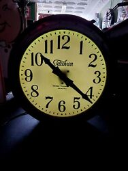 Old Telechron Neon Advertising Clock..see My Porcelain Signs, Ford Chevrolet Old