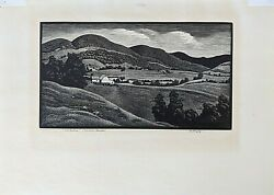 Asa Cheffetz Wood Engraving Over The Line Dunkin, Canada 1935, Pencil Signed