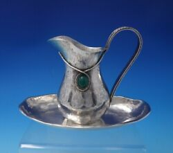 Portuguese Sterling Silver Creamer And Underplate Green Stone Rope Border 4988