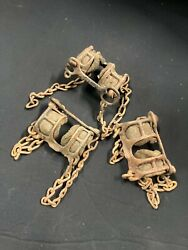 Antique Clamp On Tire Chains For Wood Spoke Wheels Set Of Three