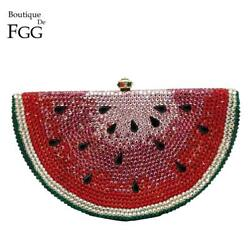 Watermelon Slice Women Crystal Evening Bags Cocktail Dinner Purses and Handbags $85.99