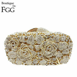 Flower Women Crystal Clutches Evening Bags Wedding Bag Floral Minaudiere Handbag $69.99