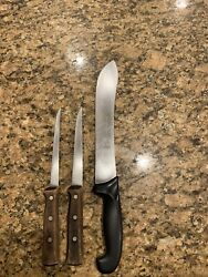 3 Forschner Victorinox Knives 10 Butcher Black Handle And Two 6 Wood Handle