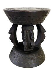 African Dogon Carved Wood Milk Stool W/ Figures Mali 12 H By 9.25 D