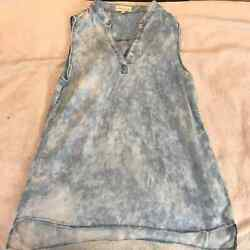 Cloth And Stone Tencel Chambray Bleach Dyed Tunic S