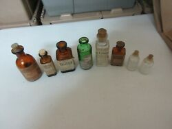 Rx , Drugstore , Old Glass Bottles ,lot Of 8 , Valerian, Vintage ,collectible