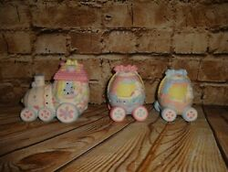 Lighted Easter Train Set Bisque Porcelain Easter Hand Painted Eggs Light Up