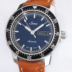 [polished] Sinn Pilot 104.st.sa.ib Automatic Blue Dial Menand039s Watch Box And Paper