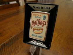 Retro Diner Sign Hot Dogs Best In Town Zippo Lighter Mint In Box 2017