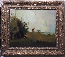French Oil Postimpressionism Painting Animated Landscape With Windmill Original