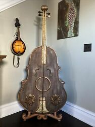 Vintage Whimsical Lifesize Hand Painted Cello Wine Rack Cabinet