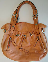 B. Makowsky Large Leather Satchel Purse Peach Salmon Pink $25.00