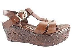Born Brown Leather Sandals Wedge Heels Shoes Pumps Ankle Bucket Women#x27;s 8 39 $34.99