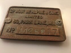 Sir Robert Mcalpine And Sons Bronze Plant Plate Suitable For Railroad Collector