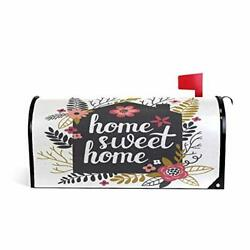 Wamika Home Sweet Welcome Magnetic Mailbox Post Box Cover Wraps Flower And Le...