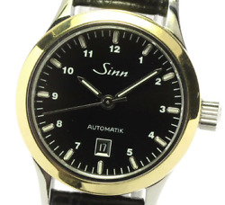 Sinn 456 Automatic Date Stainless Steel Leather Strap Black Dial German Watch