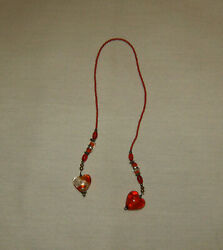 Red Beaded Bookmark with Hearts