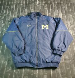 Vtg 90s Michigan State Spartans Nike Full Zip Quilted Winter Jacket Sz L