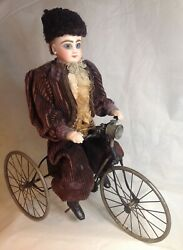 Antique French F.g. Wind Up Mechanical Doll Riding Tricycle
