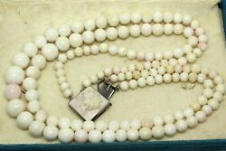 Atq Art Nouveau Chinese Export Carved Lotus Conch Shell Sterling Necklace Fnc