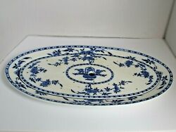 Minton England Delft Fish Platter And Drainer 19th Century Blue And White 22 3/4