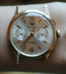 Vintage Olympic Landeron Chronograph Gold Wrist Watch Rare Unusual Collectible