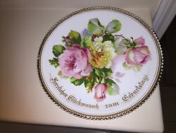 Antique P.k. Silesia Porcelain Floral Plate Flower Germany 11.5 With Gold Trim