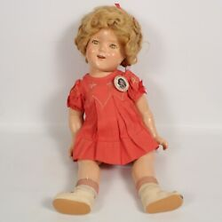 Rare Ideal Novelty And Toy Co. Genuine Shirley Temple Doll W/dress And Button 18