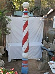Antique Tall American Painted Wood Barber Pole Trade Sign C. 1900 8and039 7