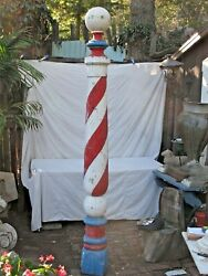 Antique Tall American Painted Wood Barber Pole Trade Sign C. 1900 8' 7