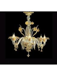 Chandelier 5 Lights Murano Of Venice Original With Warranty Made In Italy 6823/
