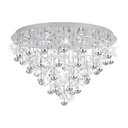 Ceiling To Led 77,4w Modern Crystal Chromed D.78 Coll. Glo 39246 Pianopoli