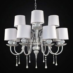 Chandelier Vintage Wooden And Metal Shabby Chic 12 Lights Bga 2515/12 W Domes