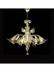 Chandelier 5 Lights Murano Of Venice Original With Warranty Made In Italy 6193/